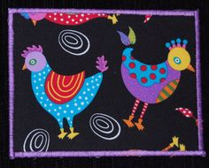 Chickens+All+Around+Fabric+Postcard+by+RunningTurtleQuilts+on+Etsy,+$6.00