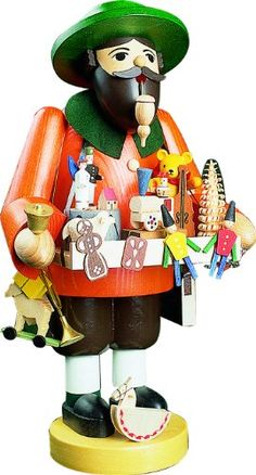 German incense smoker toy salesman, height 36 cm / 14 inch, original Erzgebirge by Richard Glaesser Seiffen ISDD Cuckoo Clocks http://www.amazon.com/dp/B002JFZWXY/ref=cm_sw_r_pi_dp_v.XPvb1FHSA6P