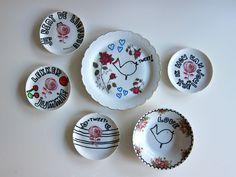 DIY: oude bordjes beschilderen- DIY painting vintage plates- http://www.galerie-lucie.nl/