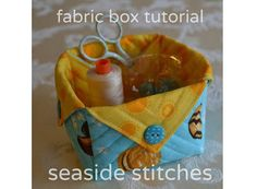 Tina Craig from Seaside Stitches shows how you can sew up these little quilted fabric boxes.  You can use them on your sewing table as thread catchers, or by the back door to hold pocket change and…