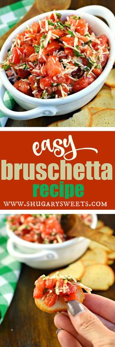 Fresh tomatoes and basil create the most delicious, EASY Bruschetta. Use bagel chips to dip, or add this to pasta with cheese!