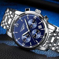 GUANQIN Mens  Luxury Fashion Business Quartz Watch