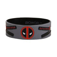 Marvel Deadpool Swords Logo Rubber Bracelet Hot Topic ($7) ❤ liked on Polyvore featuring jewelry, bracelets, deadpool, rubber jewelry, rubber bangles, logo jewelry and grey jewelry