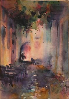 """Contemporary Painting - """"Together"""" (Original Art from Fealing Lin Watercolors)"""