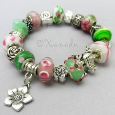 Mom's Garden European Charm Bracelet - Pink, Green Large Hole Bracelet With Frog, Snail And Flower Beads - Mothers Day Jewelry Gift Idea