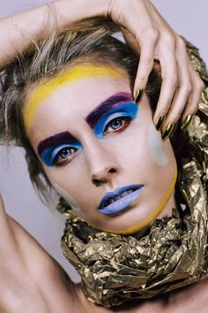 Photography: Amy Nelson-Blain / Makeup/Hair: Amber Adams / Model: Asha Clark http://amberadams.com.au #makeup #makeupartist #amberadamsmakeup #hairstyling #future #futuristic #plastic #beauty #shapeshift #colourful #shapes #geometric #fashion #photoshoot #photography  #bennye #space #alien #warrior #gold #limecrimemakeup #occmakeup #nails #nailart