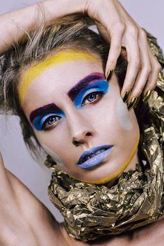 Photography: Amy Nelson-Blain / Makeup/Hair: Amber Adams / Model: Asha Clark http://amberadams.com.au #makeup #makeupartist #amberadamsmakeup #hairstyling #future #futuristic #plastic #beauty #shapeshift #colourful #shapes #geometric #fashion #photoshoot #photography  #bennye #space #alien #warrior #gold #limecrimemakeup #occmakeup #nails #nailart