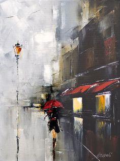 We present: red umbrella - Marek Langowski. One of the many paintings by Marek Langowski. City Painting, Oil Painting On Canvas, Rain Art, Umbrella Art, Umbrella Painting, Abstract Canvas, Love Art, Amazing Art, Modern Art