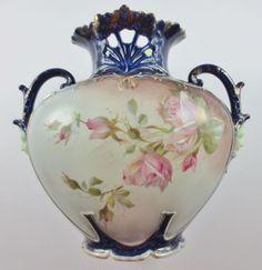 Antique Cobalt Blue Porcelain Urn Vase With Double Figural Face Handles