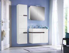 Hochschrank Weiß Hochglanz/Eichefarben online kaufen ➤ mömax Bathroom Lighting, Mirror, Furniture, Home Decor, Crown Moldings, Living Area, Closet Storage, Drawers, Oak Tree