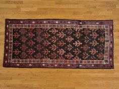 4' x 8.5' Black Old Persian Kurdish Some Wear Gallery Size Handmade -