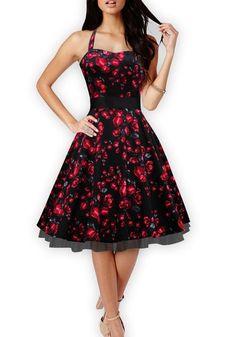 Black Patchwork Grenadine Floral Pleated Zipper U-neck Sleeveless Midi Dress