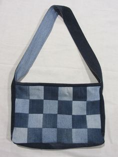 Checkerboard Patchwork Denim Bag, Upcycled Jeans, Zipped and Lined
