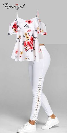 Free shipment worldwide, up to off, Rosegal off the shoulder floral print tops and Elastic Waist Lace Up Leggings for women, cozy and comfortable Comfortable Summer Outfits, Summer Pants Outfits, White Pants Outfit, Outfit Summer, Coral Shorts Outfit, Summer Clothes, Lace Up Leggings, How To Wear Leggings, Leggings Store