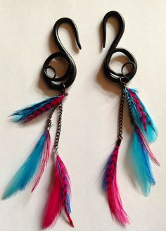 Black pink and blue feather polymer clay gauges 6g by FinchFinery, $25.00