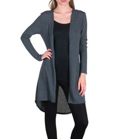 Another great find on #zulily! Charcoal Hi-Low Open Cardigan by Free to Live #zulilyfinds