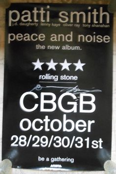 """Signed Patti Smith CBGB's Concert Poster Brand New 38"""" X 25"""" Rare Rock Posters, Concert Posters, Patti Smith, Rolling Stones, Peace, Brand New, Album, Signs, Music"""