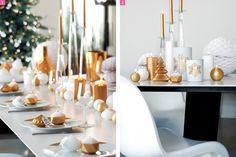 Alternez bougies et photophores, blanc et or, pour une table de fête tout en lumière. #Deco #Noël