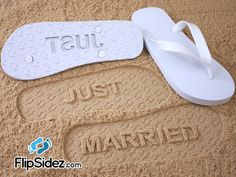 279580a0a6fab Just Married Flip Flops - Custom Sand Imprint Sandals for Beach Weddings