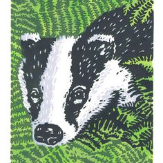 Badger in the Bracken - Original Limited Edition Linocut Print
