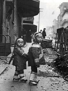 Two children in SF Chinatown post-earthquake.