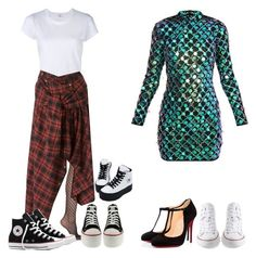 """""""Sem título #624"""" by larieshine on Polyvore featuring moda, Wolford, Christian Louboutin, Converse, RE/DONE e Faith Connexion"""