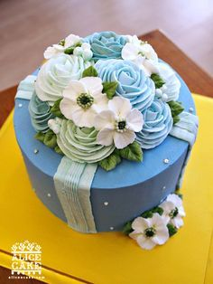 WEDGEWOOD BLUE CAKE TOPPED WITH FLOWERS