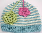 Beanie for Lilac and Cream with Pink & Green Flowers. via Etsy. Pink And Green, Blue, Green Flowers, Lilac, Beanie, Stripes, Cream, Trending Outfits, Unique Jewelry