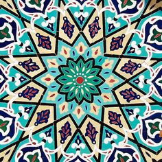 Turquoise Mosaic Pattern on Mosque