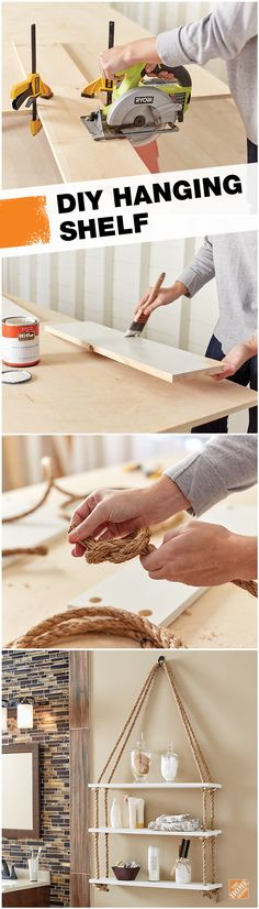 Give your wall an unexpected piece of rustic and stylish storage space with a hanging rope shelf. Grab a circular saw, a drill, some common boards, natural manilla rope, and just a few other items noted on our project guide. Get the step-by-step tutorial and more information on our monthly workshops when you click-through.
