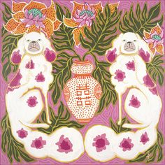 Staffordshire Dogs in Hot Pink and Orange by Paige Gemmel Abstract Watercolor, Watercolor Paper, Plywood Furniture, Kitsch, Fu Dog, Staffordshire Dog, Red Vases, Lion Dog, Art Plastique
