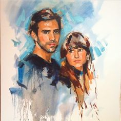 Portrait painting of a South African couple in oil.  Artist: Charlotte Partridge
