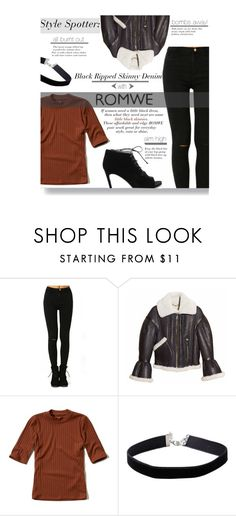 """""""Styling Little Black Skinny Ripped Denim"""" by sierrrrrra ❤ liked on Polyvore featuring Burberry, Hollister Co., Miss Selfridge, Yves Saint Laurent and romwe"""