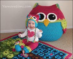 Owl Set  CROCHET PATTERN  Bean Bag Chair Hats door YarnovationsShop