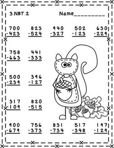 Fall Themed 3 Digit Subtraction With Regrouping 4th Grade Multiplication Worksheets, 3rd Grade Math Worksheets, Printable Math Worksheets, Subtraction Worksheets, School Worksheets, Math Exercises, English Worksheets For Kids, Second Grade Math, Math Practices