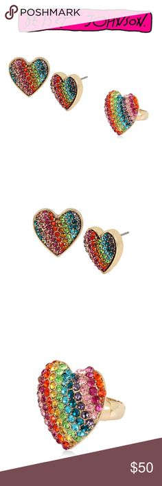 Betsey Johnson Bundle NWT. Rainbow Heart earrings Studs in gold with matching stretch ring. Betsey Johnson Jewelry Earrings