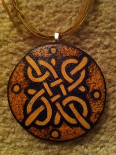 Wood-burned Celtic Knot Pendant on Gourd Shard by Barbali