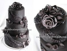 Glam Goth Wedding Cake by Celebration Generation Gothic Wedding Cake, Black Wedding Cakes, Black Wedding Dresses, Pagan Wedding, Black Weddings, Geek Wedding, Medieval Wedding, Fantasy Wedding, Wedding Bells