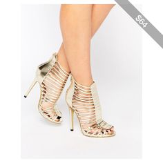 Daisy Street Caged Gladiator Gold Heeled Sandals