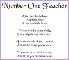thank you teacher handprint poem - Google Search