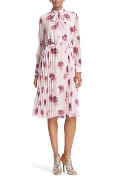 kate spade new york kate spade new york 'encore rose' tie neck pleat chiffon dress available at #Nordstrom