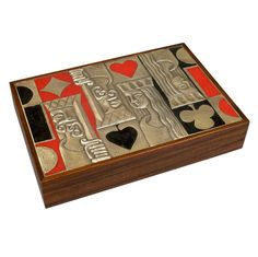 Magnificent Ottaviani Gaming Box With Full Contents  Italy  1960's  Italy, 1960's  An unusual double size gaming box with enameled repousse sterling silver lid, including complete set of original, unwrapped poker chips and playing cards, dice and leather cup.   Signed