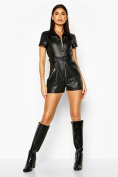 Womens Utility Leather Look Playsuit - black - 10 - Utility Leather Look Playsuit Rompers Women, Jumpsuits For Women, Dolly Fashion, Gothic Fashion, Leather Catsuit, Leder Outfits, Cool Outfits, Fashion Outfits, Romper Outfit