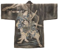 Meiji, Fireman's Coat Depicting Soga Brothers. Japan. 19th century.