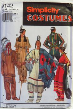 Simplicity 9142 Adults Native American Costumes