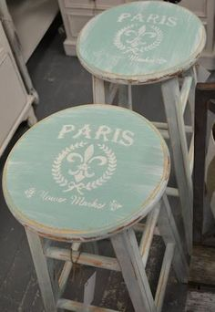 stools for breakfast bar... Paint and stencil cheap stools