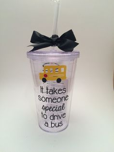 This 16oz double wall tumbler would be a cute gift for the bus driver in your little ones life.. After all, they do carry your most precious