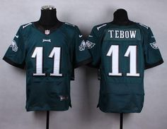 """$23.88 at """"MaryJersey""""(maryjerseyelway@gmail.com) Nike Eagles 11 Tim Tebow Midnight Green Team Color Men Stitched NFL New Elite Jersey"""