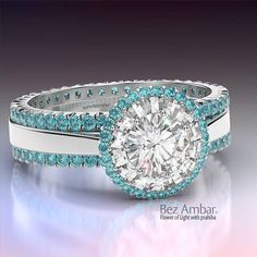 Diamond trimmed in aquamarines. Ohhhhh ... My......... #birthstone #march