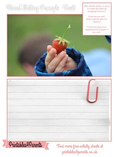 Here's a free printable Fruit writing prompt sheet for your children, featuring original Printables4Parents photography.